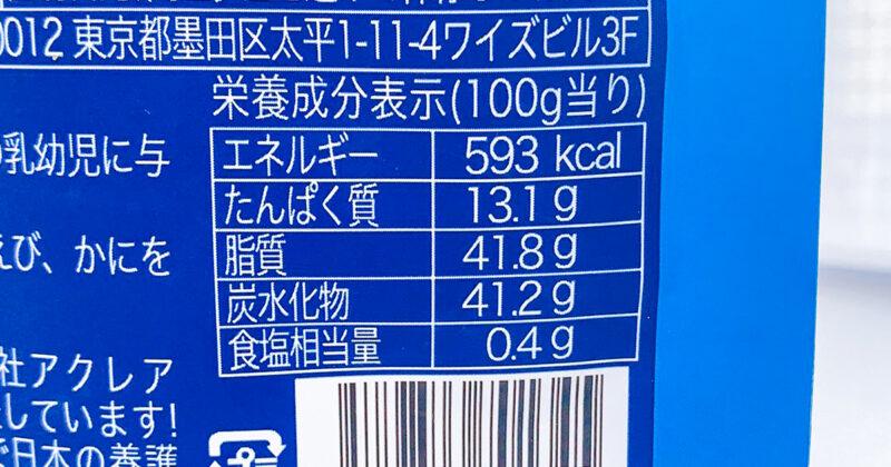 クッキーアンドクリームの栄養成分表